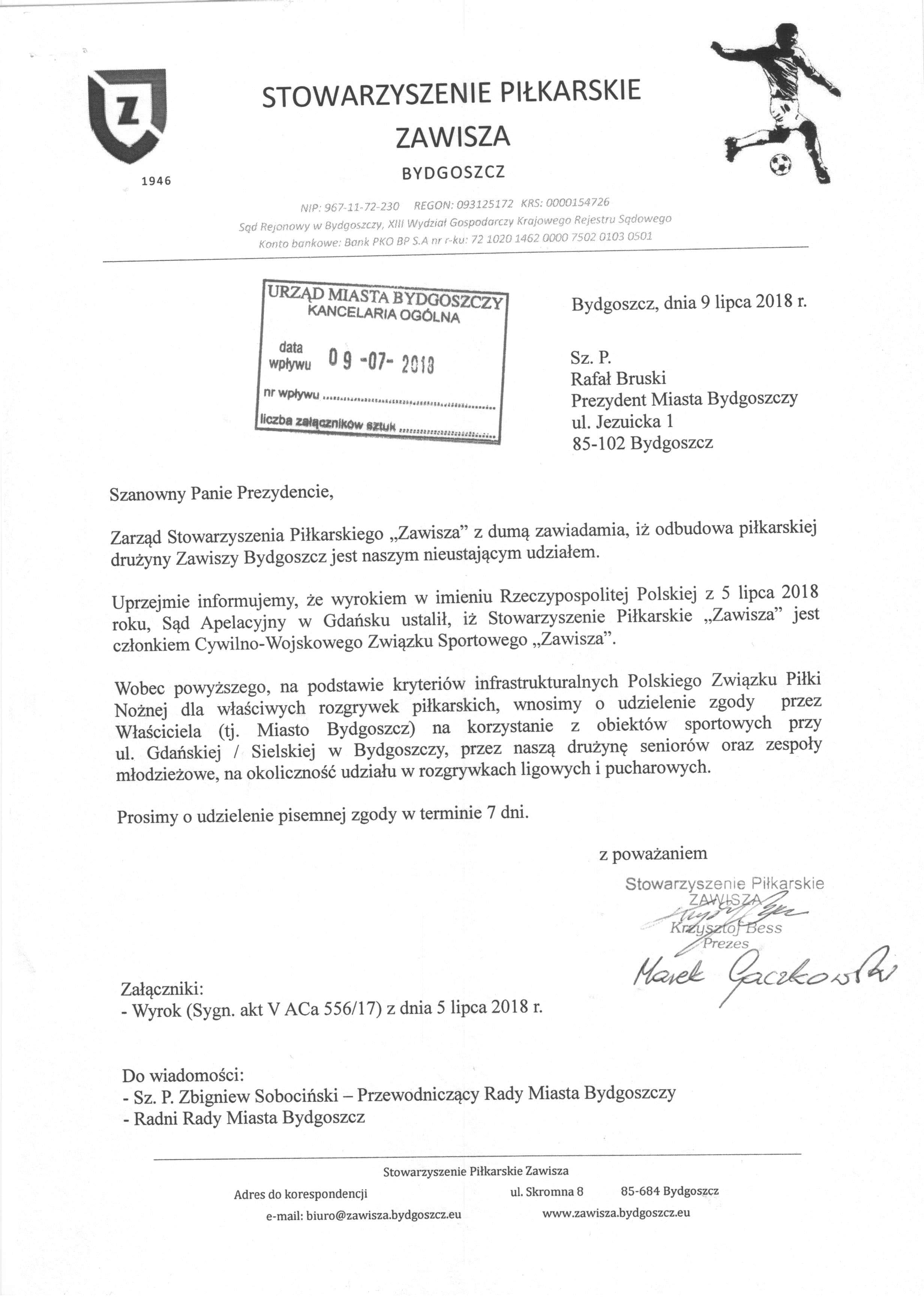 Pismo SP Zawisza do Prezydenta Bydgoszczy.